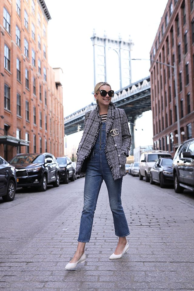Atlantic-Pacific // Tweed and Pearls on the Brooklyn Bridge. Overalls: Levis (also love these under $100, last seen here). Top: Ann Taylor (sold out, but I love this scalloped blouse from their current collection!). Pearl Cardigan: Zara (as I talked about here). Shoes: Chanel (found here). Tweed Jacket: Storets (as seen here). Sunglasses: Linda Farrow. Lipstick: Stila 'Baci'.