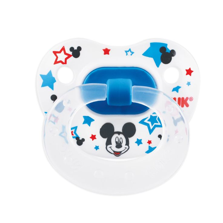 Soothe and comfort your little one with orthodontic pacifiers from NUK® featuring Mickey Mouse.