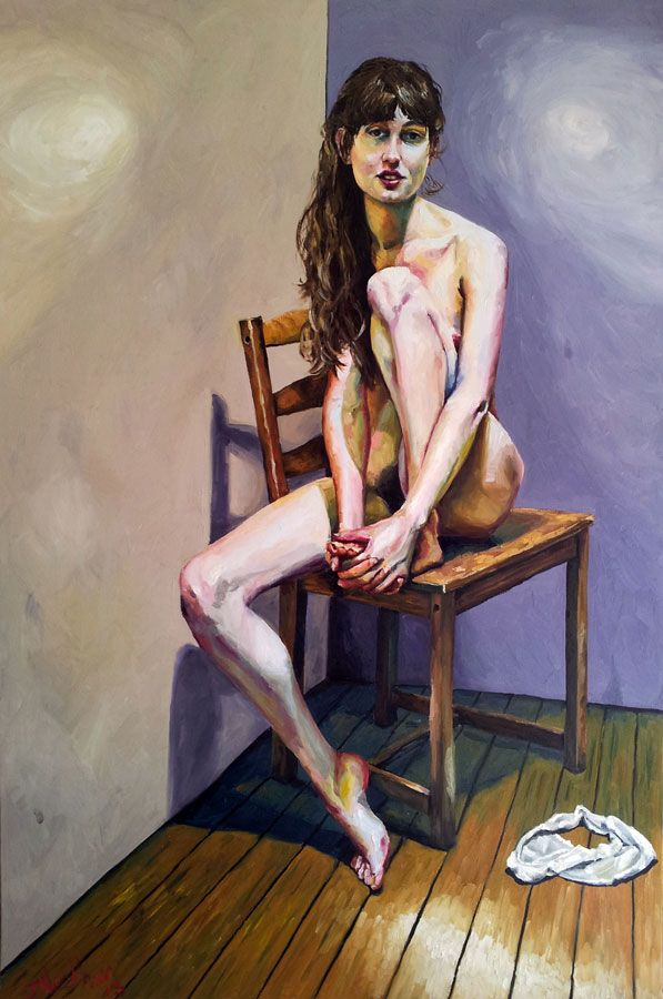 Nettie - Original art painting of nude woman figure in oil on stretched canvas for sale online at StateoftheART Gallery