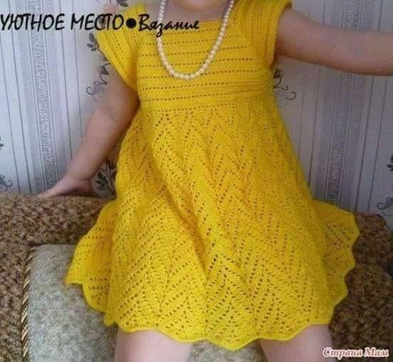 Patrón #754: Vestido de Niña a Crochet.