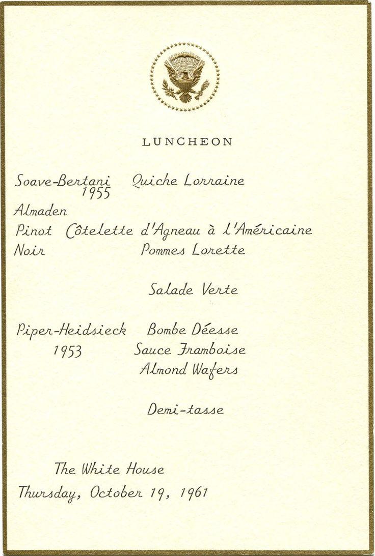 President Eisenhower luncheon menu - Google Search