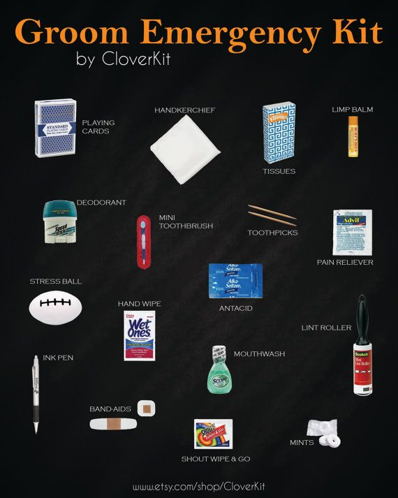 Groom Survival Kit contains 21 unique items to ensure your groom is his best self on your big day. $49. Makes a great gift. By CloverKit n