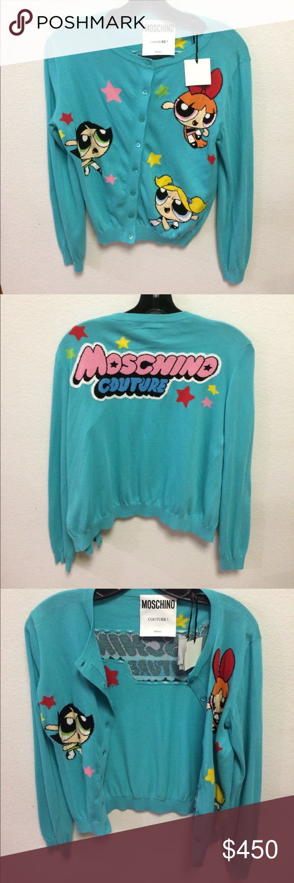 MOSCHINO Powerpuff Girls Cardigan Brand-new Moschino cardigan emblazoned with a playful and adorable Powerpuff Girls graphic on the front, and a show-typical lettering of the brand name on the back! Darker teal color, fine cotton knit. Show off your love for everyone's favorite superpowered girls any season! Moschino Sweaters Cardigans