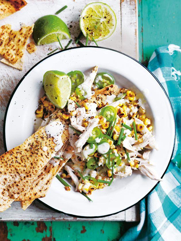 chicken and corn nachos with jalapeño yoghurt