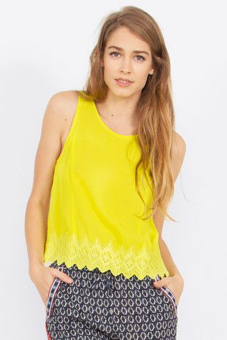 Women's Yellow Tank Top Embroidery Hem Button Closure $37.99 CAD