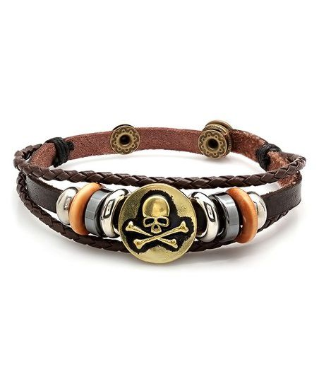 Steel Time Brown Leather Pirate Bracelet | zulily