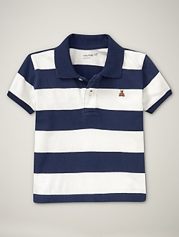 Nothing beats a little man in a striped polo shirt