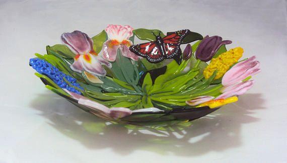 Personalizado hecho 14 fundido vidrio flor u hoja tazón