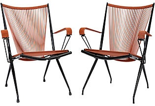 Mompoix Folding Garden chairs - these are from the 1970s, but I think they fit the mid-century aesthetic very well.