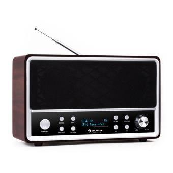auna Charleston Radio numérique avec tuner DAB FM/AM RDS , réveil - bois