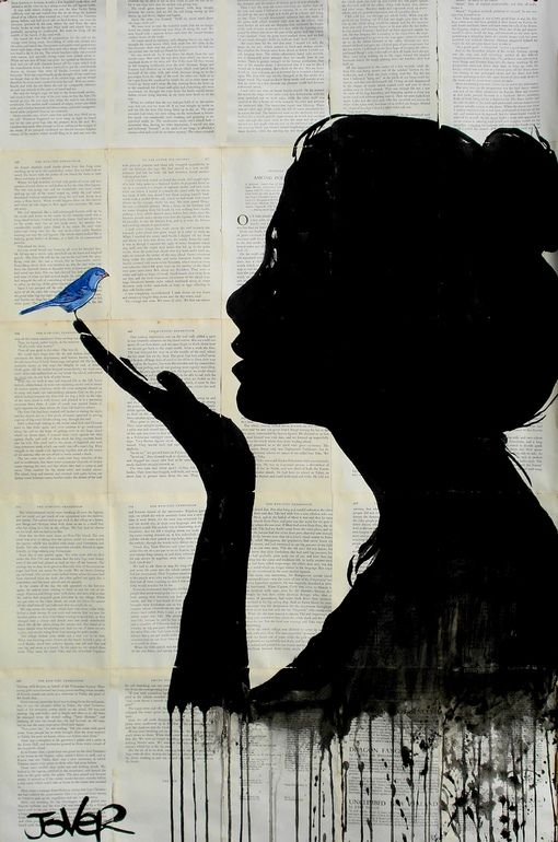 The contrast of the black silhouette onto the light colored newspaper. Also the emphasis of the blue bird being the only color on the artwork.