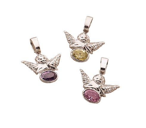 #Colgante #Plata de Primera Ley. #angel #alas #rosa #morado #amarillo #suerte #pink #purple #yellow