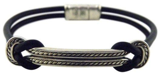 David Yurman 925 Sterling Silver Maritime Rubber Reef Knot ID Bracelet
