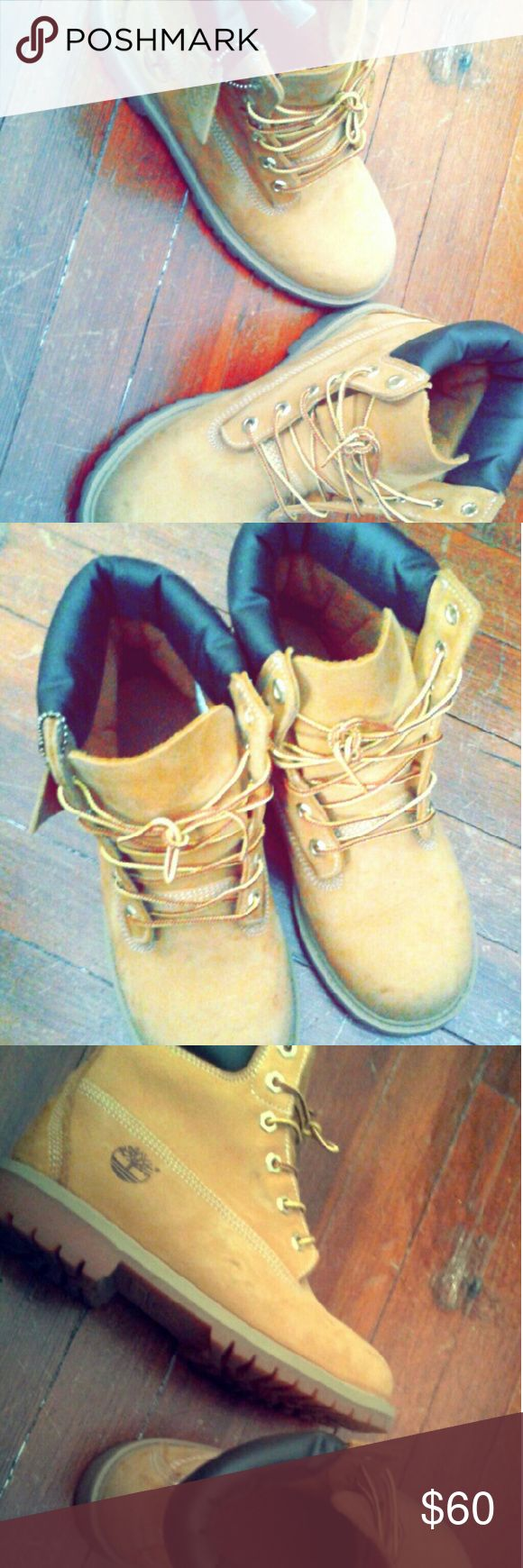 Timberland boots Great condition boots, normal wear on them. A few marks that can be removed with boot cleaner and they'll look brand new. 6Y kids. Timberland Shoes Lace Up Boots