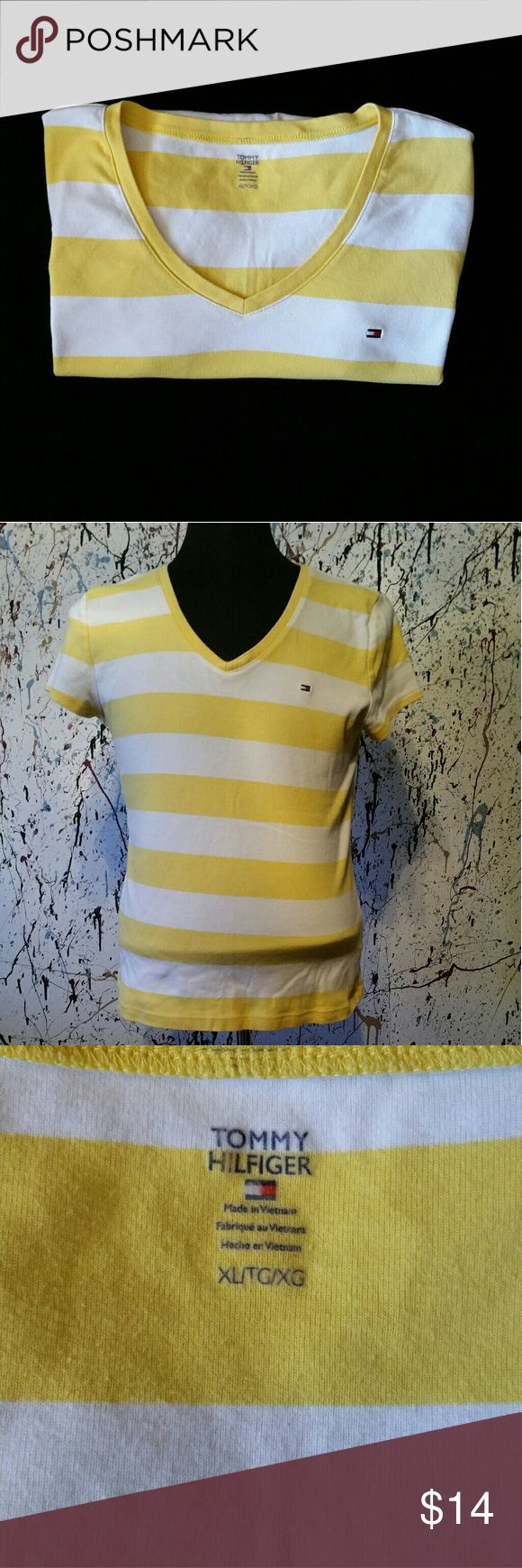 Tommy Hilfiger Womens V Neck T-shirt size XL Short Sleeve, Yellow/White Stripes, Signature Tommy Flag on Chest, Ideal for any Occasion, *bundle friendly* Tommy Hilfiger Tops Tees - Short Sleeve