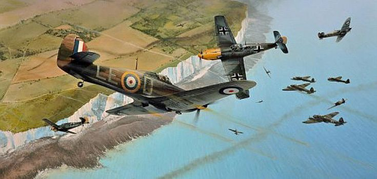 """""""Into the Fray"""" - Richard Taylor ... Squadron Leader Douglas Bader leads the Hurricanes of 242 Squadron in an aggressive diving attack upon a large force of Heinkel 111s approaching the Kent coast, whilst Spitfires from 66 Squadron tangle with the escorting Bf109s of JG52. It is September 1940, and the climax of the Battle of Britain."""