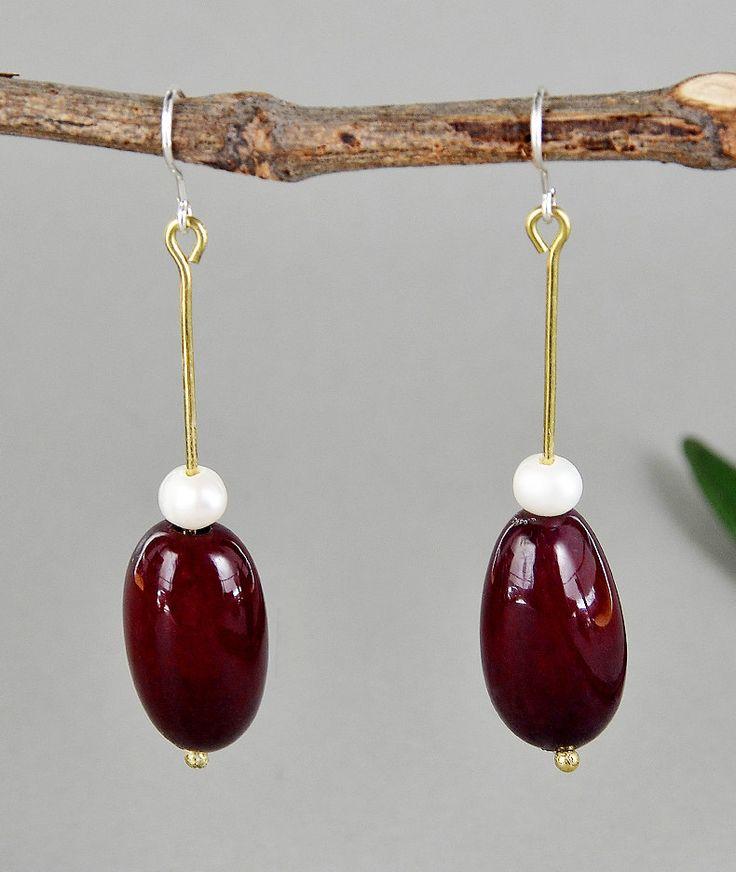 Drop garnet tagua nut earrings with white pearls, dangle long earrings with garnet vegetable ivory nut, stylish and elegant earrings by NataliaNorenasilver on Etsy
