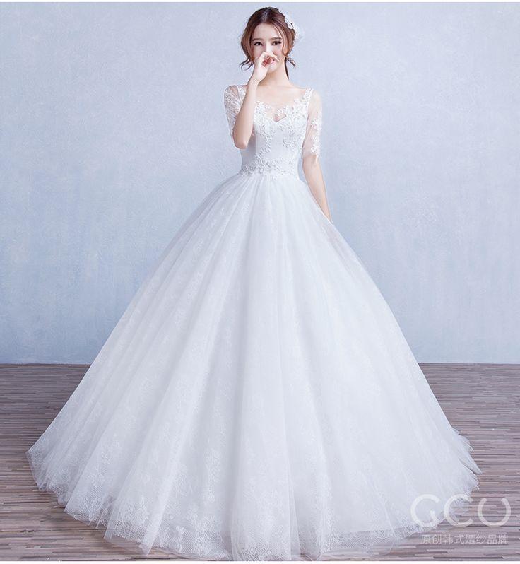 GCU2015 осень новый стиль Свадебные платья невесты, женат на Хань Ци плеча рукав кружева v шеи свадебное платье тонкий