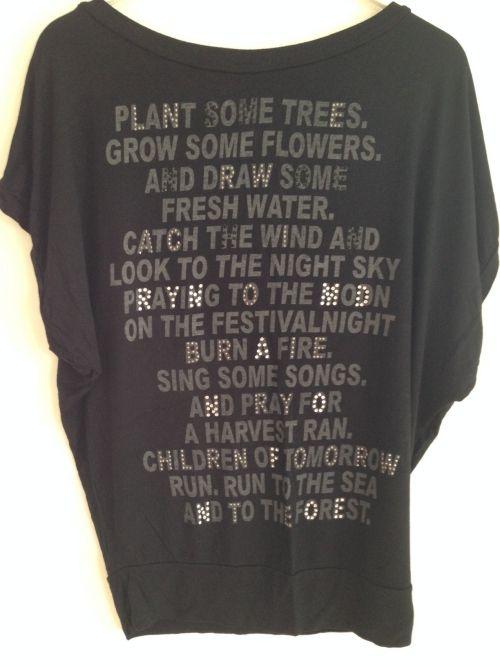 Plant some trees t-shirt. Sort og med sølvtekst, Str. L.