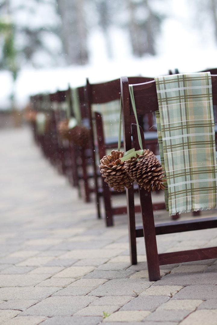 Green plaid scarf and large hanging pinecones adorn ceremony chair ~ we ❤ this! moncheribridals.com