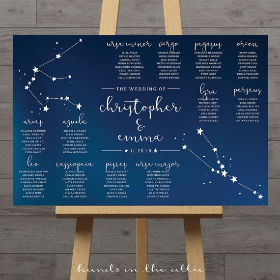 Plan de table mariage constellation, graphique places mariage céleste, table de réception du zodiaque, étoiles assise plan, espace, ciel nocturne, NUMÉRIQUE