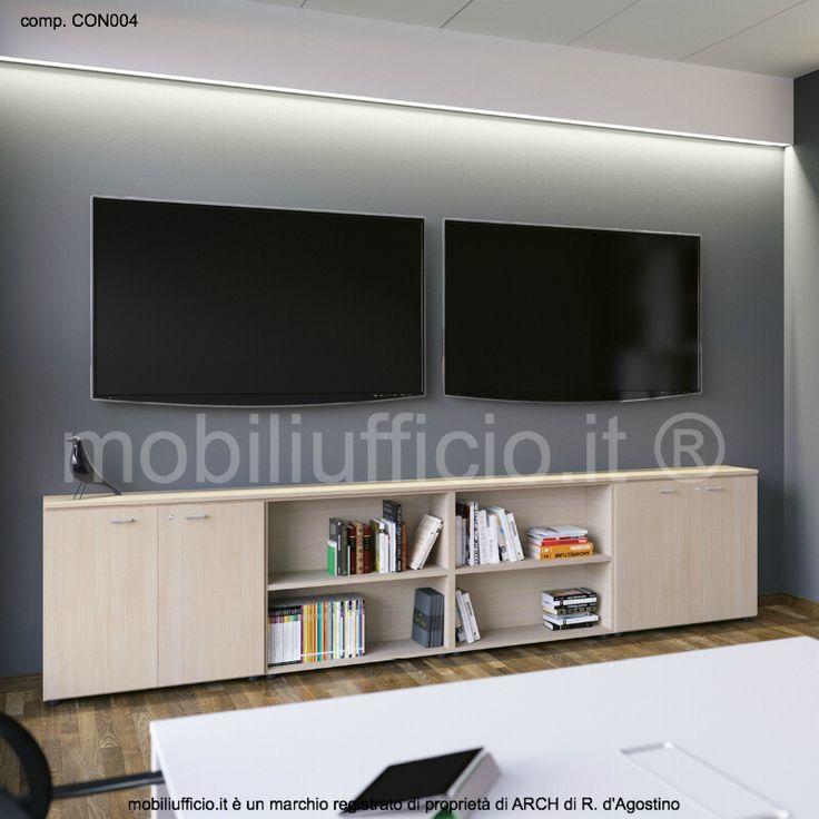 comp. CON004 - #mobile #archivio per #ufficio con doppio vano centrale a giorno e doppio modulo laterale con ante, serratura e ripiano interno.