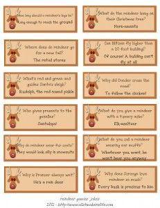 Reindeer Lunch Box NOtes Jokes