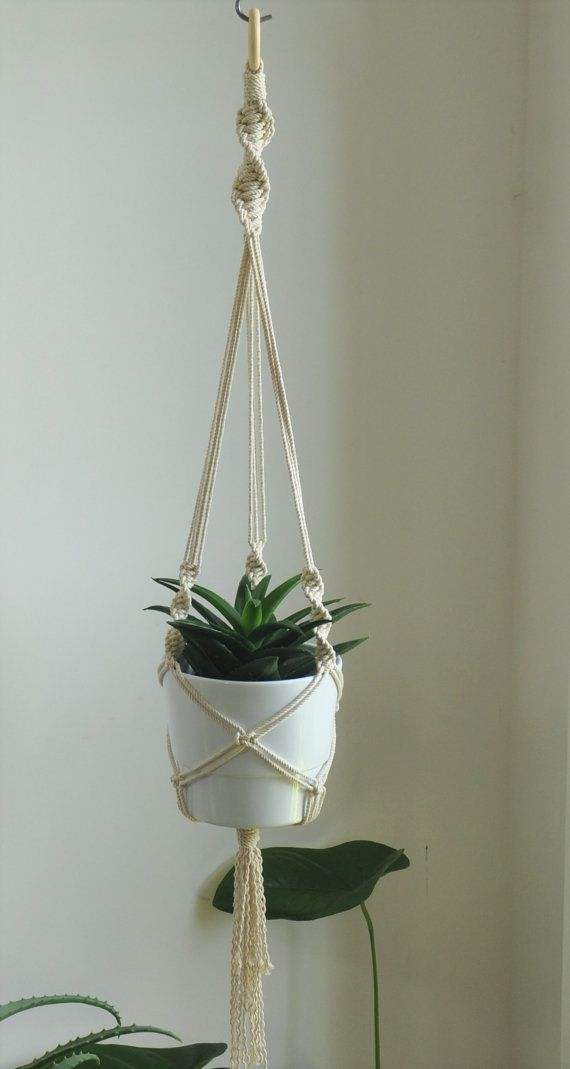 Macrame plant hanger, hanging planter, cotton rope macrame, firbre art wall decor,boho home decoration, home garden, indoor plant hanger
