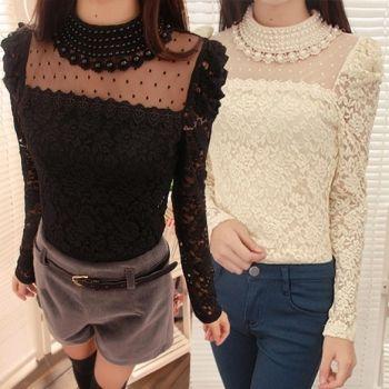 New Stylish Lady Women's Fashion Long Sleeve O-Neck Sexy Lace Top Blouse