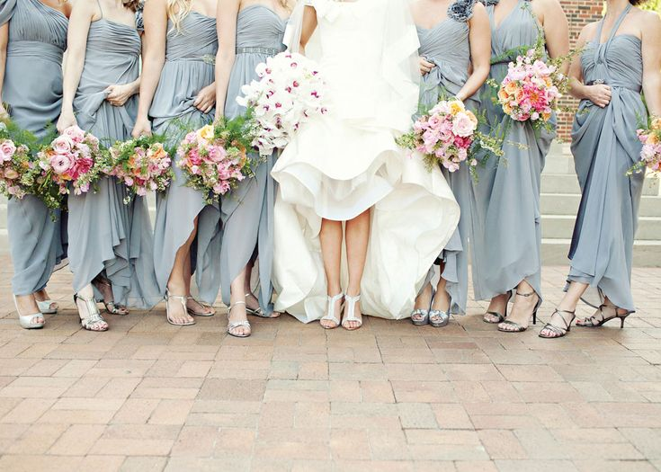 Chic, long, slate grey bridesmaids dresses.  Photo by Perez Photography. www.wedsociety.com #wedding #bridesmaids