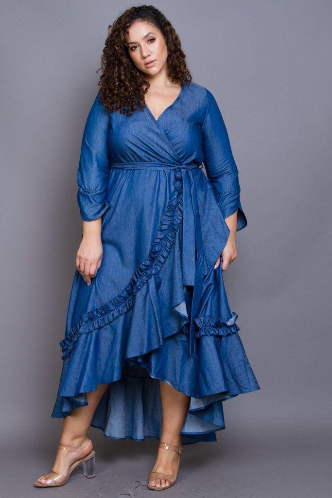 Plus Size Glam Ruffle Trim Denim Maxi Dress in 2019 | Blue Jeans ...
