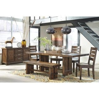 Signature Design by Ashley Chadoni Dark Brown Dining Room Table with Four Chairs and Bench Set - 19785926 - Overstock.com Shopping - Big Discounts on Signature Design by Ashley Dining Sets