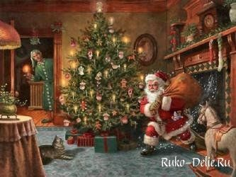 Схема для вышивания Санта Клауса с мешком подарков