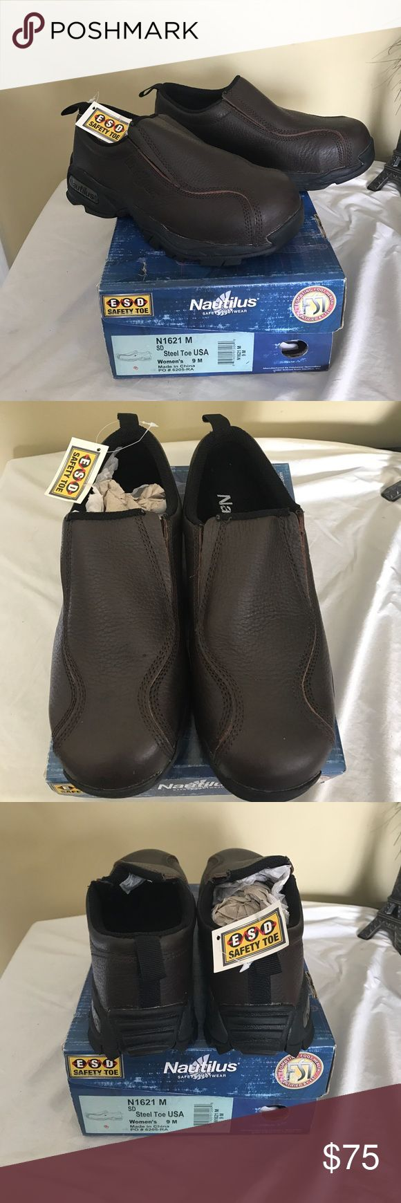 Nautilus steel toe work shoes Brown steel toe work shoes by Nautilus. Brand new. No lace shoes. Nautilus Shoes Flats & Loafers