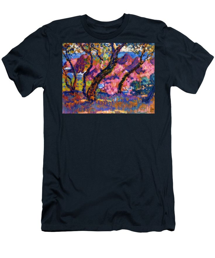 In Men's T-Shirt (Athletic Fit) featuring the painting In The Shade Of The Pines Study 1905 by Rysselberghe Theo van