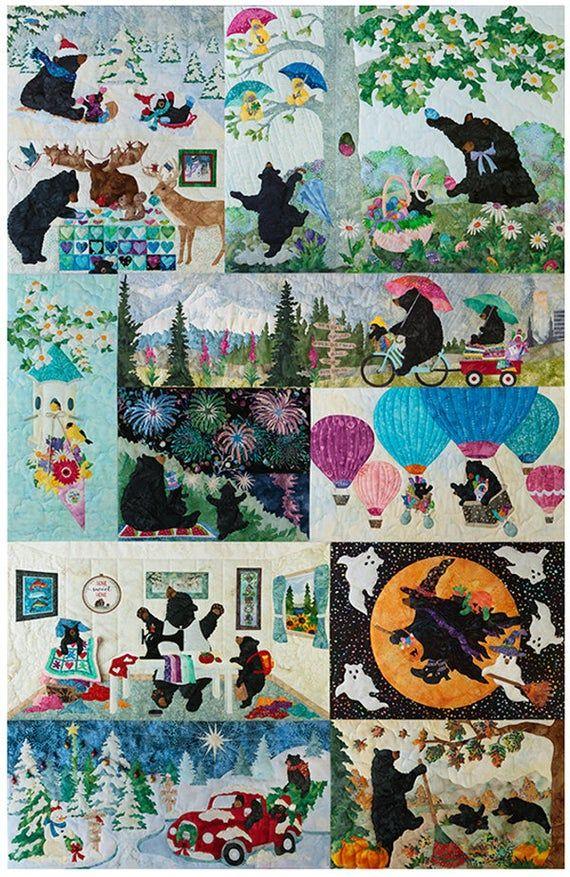 12 Months Of Happy Mckenna Ryan Laser Kits Complete Set Etsy In 2020 Quilt Patterns Bear Quilts Applique Pattern