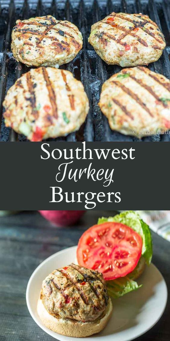 This recipe for grilled turkey burgers is easy and a healthy alternative to beef. Southwest ingredients like peppers and cumin give this dish an rich taste. (Paleo Beef Patties)