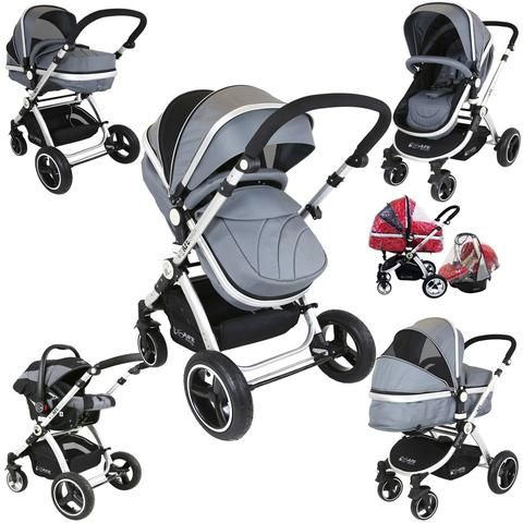 i-Safe System - Grey Trio Travel System Pram & Luxury Stroller 3 in 1 Complete With Car Seat + Rain Covers
