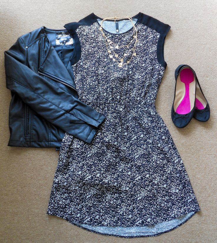 Wear a biker jacket with a #woolies printed summer dress and tights for a super cute evening look. #missmouse #winter14