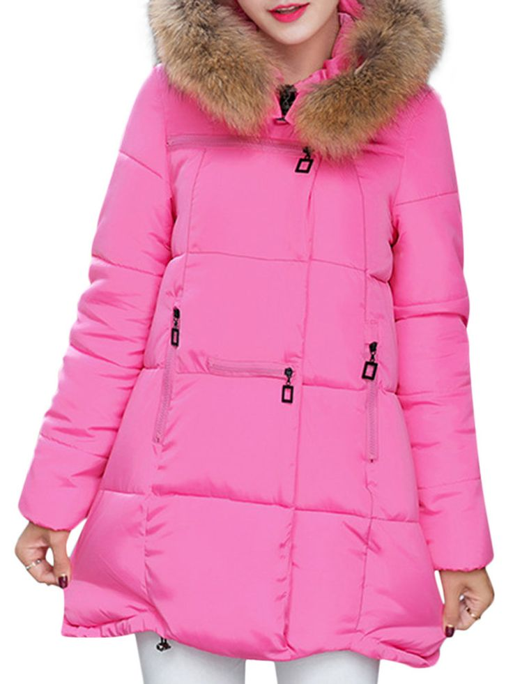 Pure Color Faux Fur Hooded Loose Long Sleeve Women Down Coats