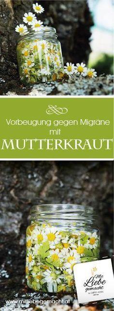 Mutterkraut hilft bei Migräne - ein tolles Hausmittel zur Vorbeugung! DIY und Etiketten zum Download. Heilen mit der Kraft der Natur