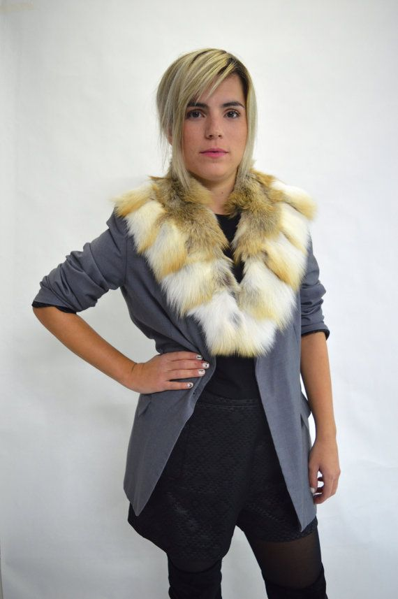 Real fur collar fox collar Golden/red fox fur collar. by BeFur