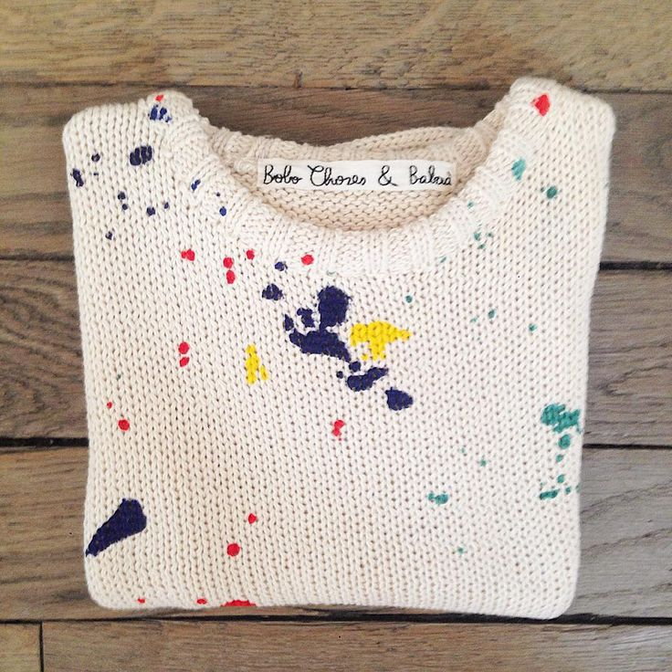 (carefully) splatted an old knit with fabric paint?