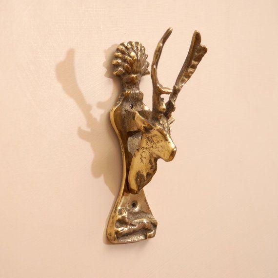 antique brass door knocker deer by ukamobile on etsy