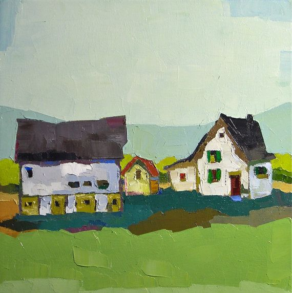 The Green Shutters- Original Oil Painting 16x16 - Farm Painting, Landscape Painting