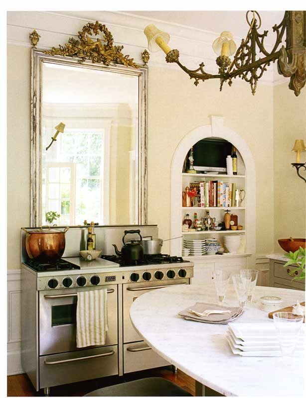 Large Vintage Mirror Above The Stove And Large Copper Pot Kitchen Inspirations Kitchen Remodel Kitchen Design