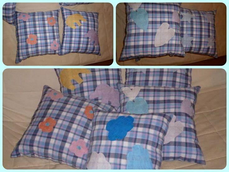 Pillows with appliqué designs