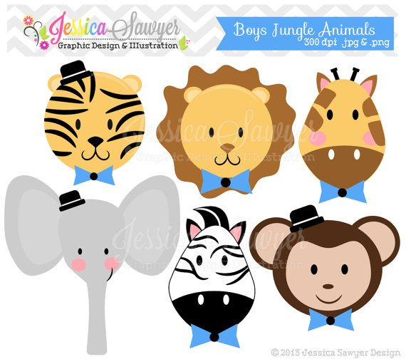 INSTANT DOWNLOAD, boys jungle animal clipart, little man jungle clip art, for baby showers, invitations, announcements, digital scrapbooking