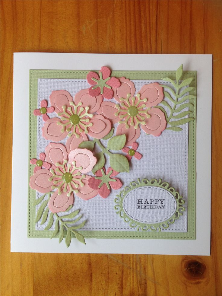 Handmade card made with Stampin' Up Botanical Blooms dies.