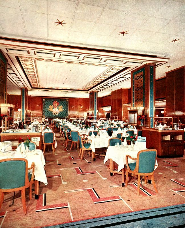 RMS Queen Elizabeth - 1939 - After Refitting ~ The Restaurant was always magnificent, but now it was even more sublime, with its new carpets and all the other touches!